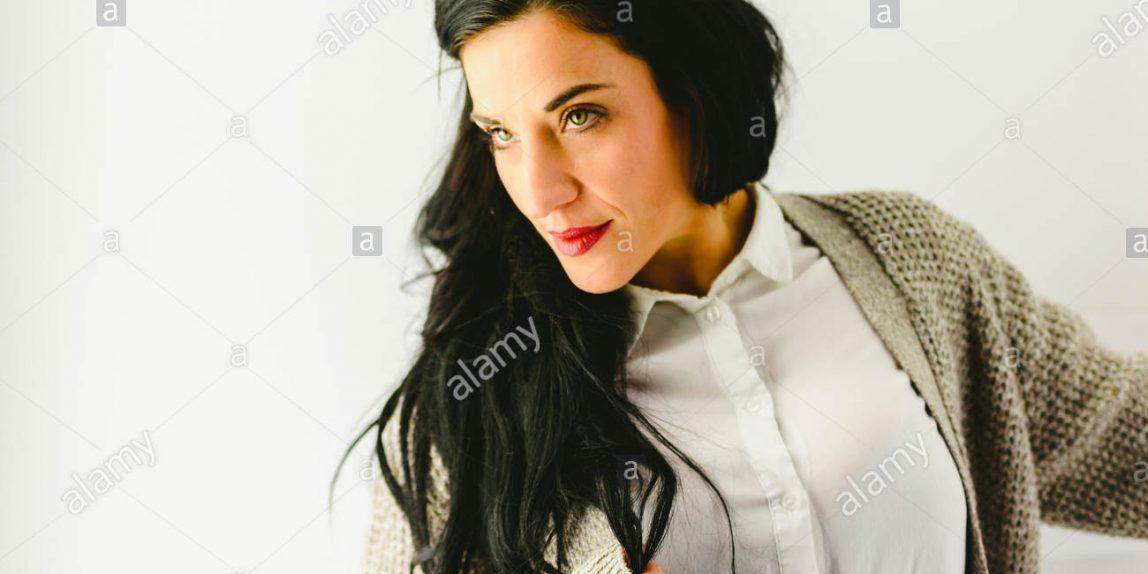 Portrait of beautiful brunette woman model