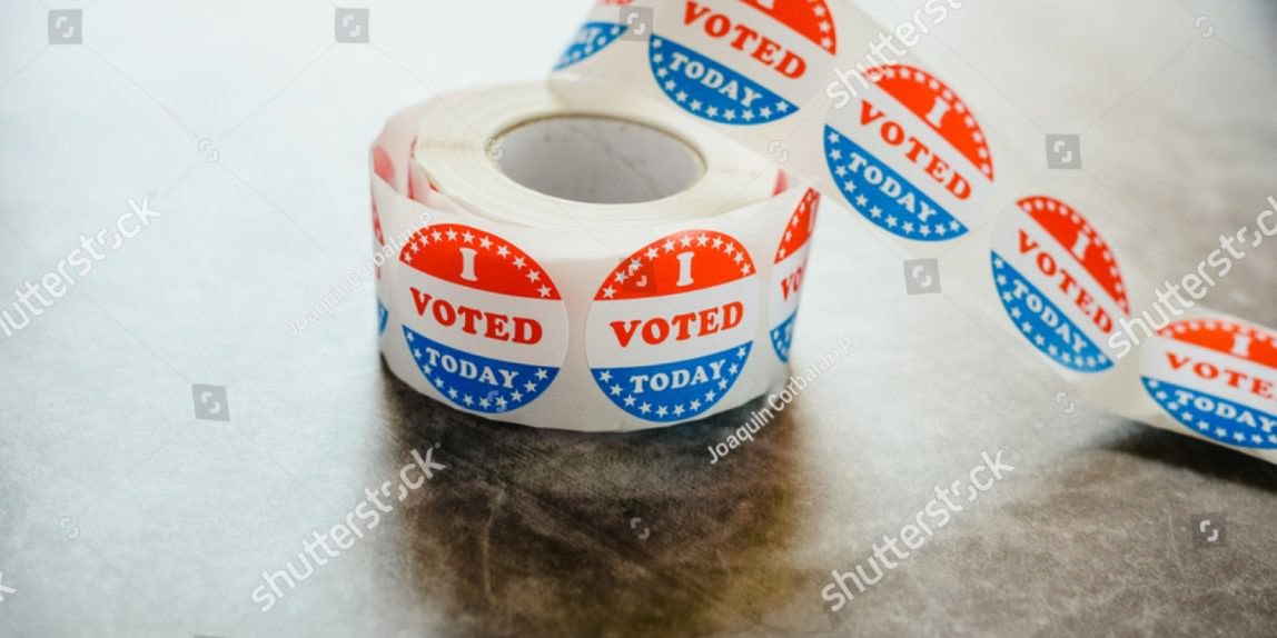 Stock Photo Roll Of I Voted Circular Stickers On A Gray Background For The November Elections In The United 1551170411