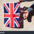 Stock Photo Woman Holds British A Flag 1638171880