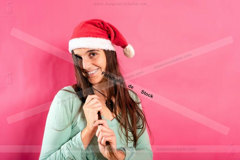 Woman Isolated Studio Young Santa hat