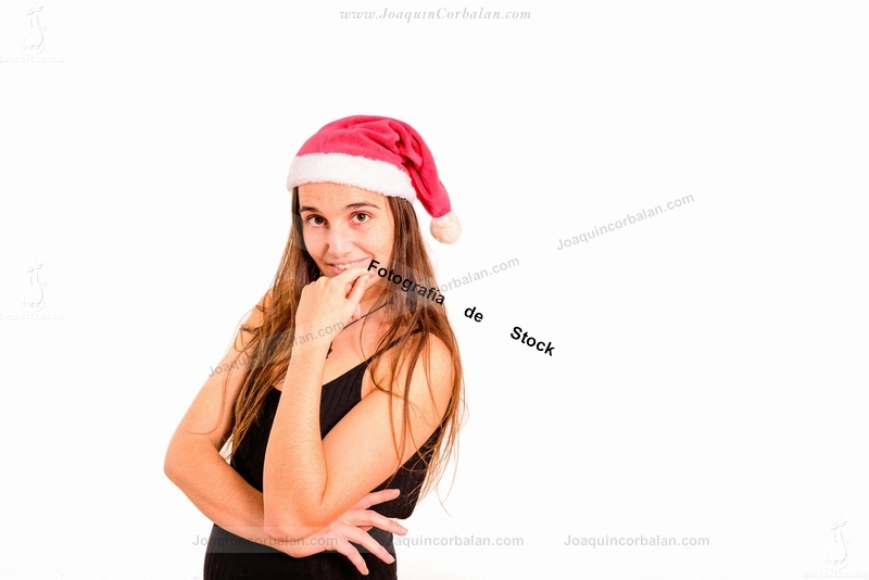 Woman Isolated Studio Young Santa